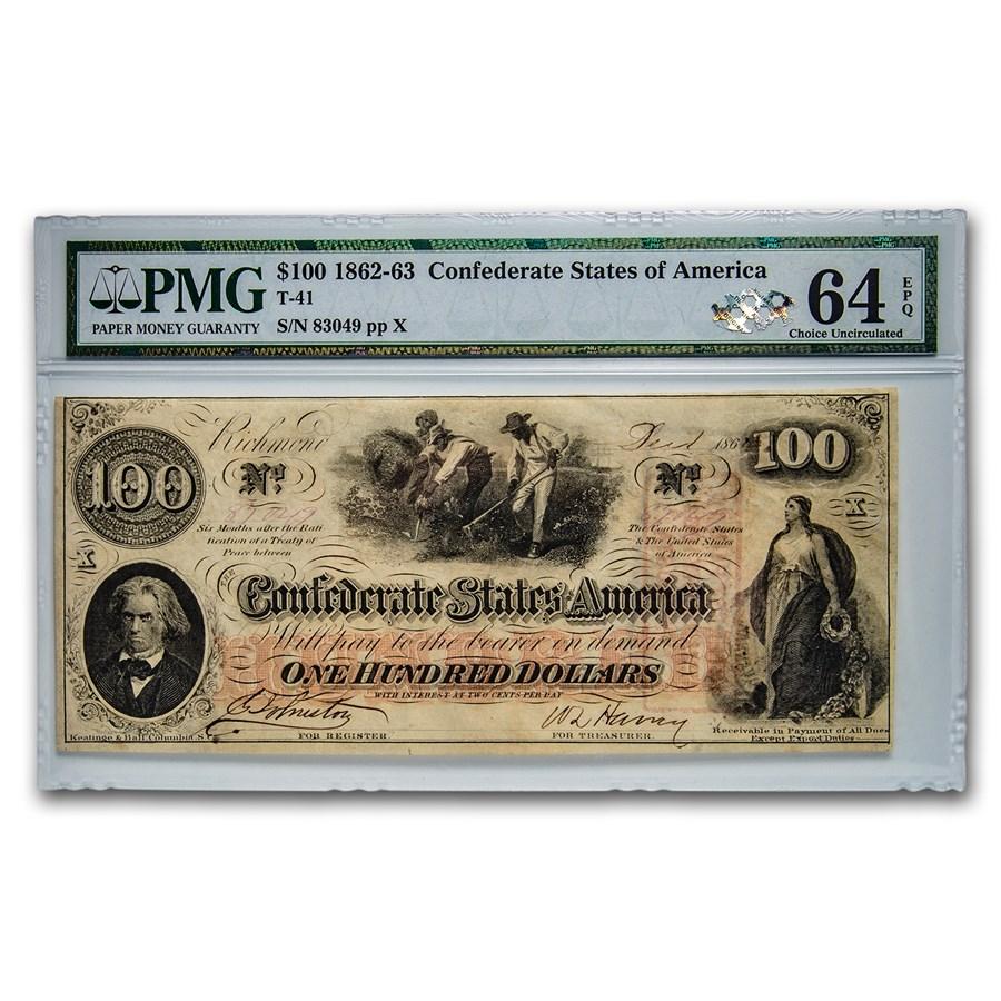 1862 $100 (T-41) Slaves Hoeing Cotton CU-64 EPQ PMG