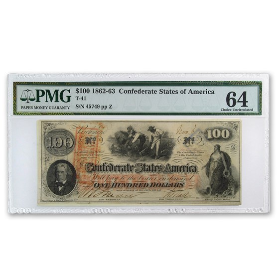 1862 $100 (T-41) Slaves Hoeing Cotton CU-64 PMG