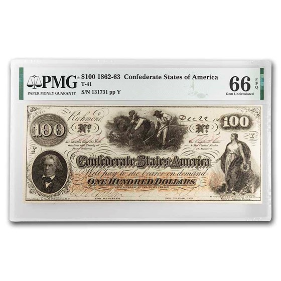 1862 $100 (T-41) Slaves Hoeing Cotton CU-66 PMG