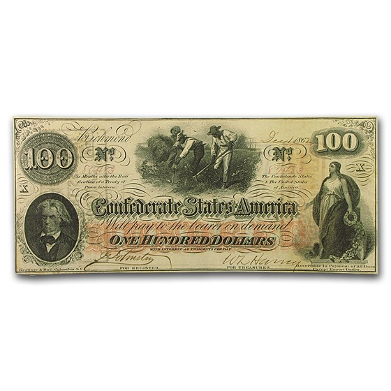 1862 $100 (T-41) Slaves Hoeing Cotton VF+