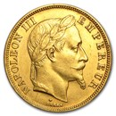 1862-1868 France Gold 50 Francs Napoleon III Laureate (AU)