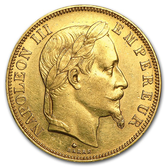 1862-1868 France Gold 50 Francs Napoleon III Laureate (Avg Circ)