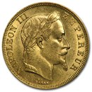 1862-1868 France Gold 50 Francs Napoleon III Laureate (BU)