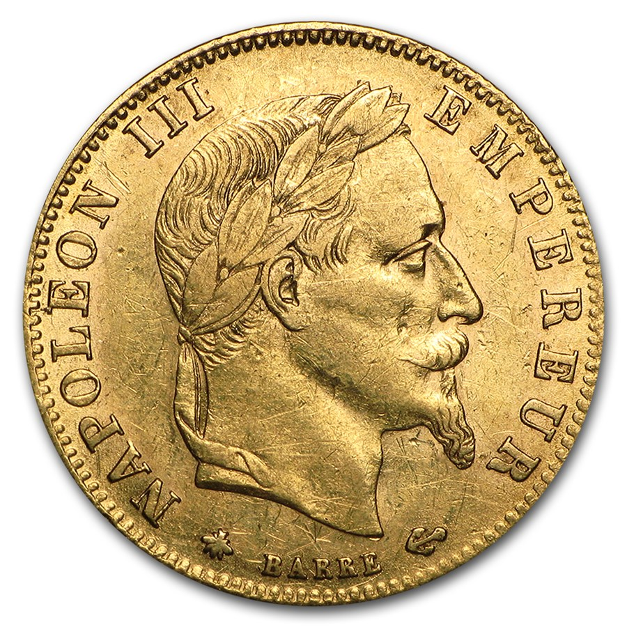 1862-1869 France Gold 5 Francs Napoleon III Laureate (Avg Circ)