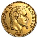 1862-1870 France Gold 100 Francs Napoleon III Laureate (AU)