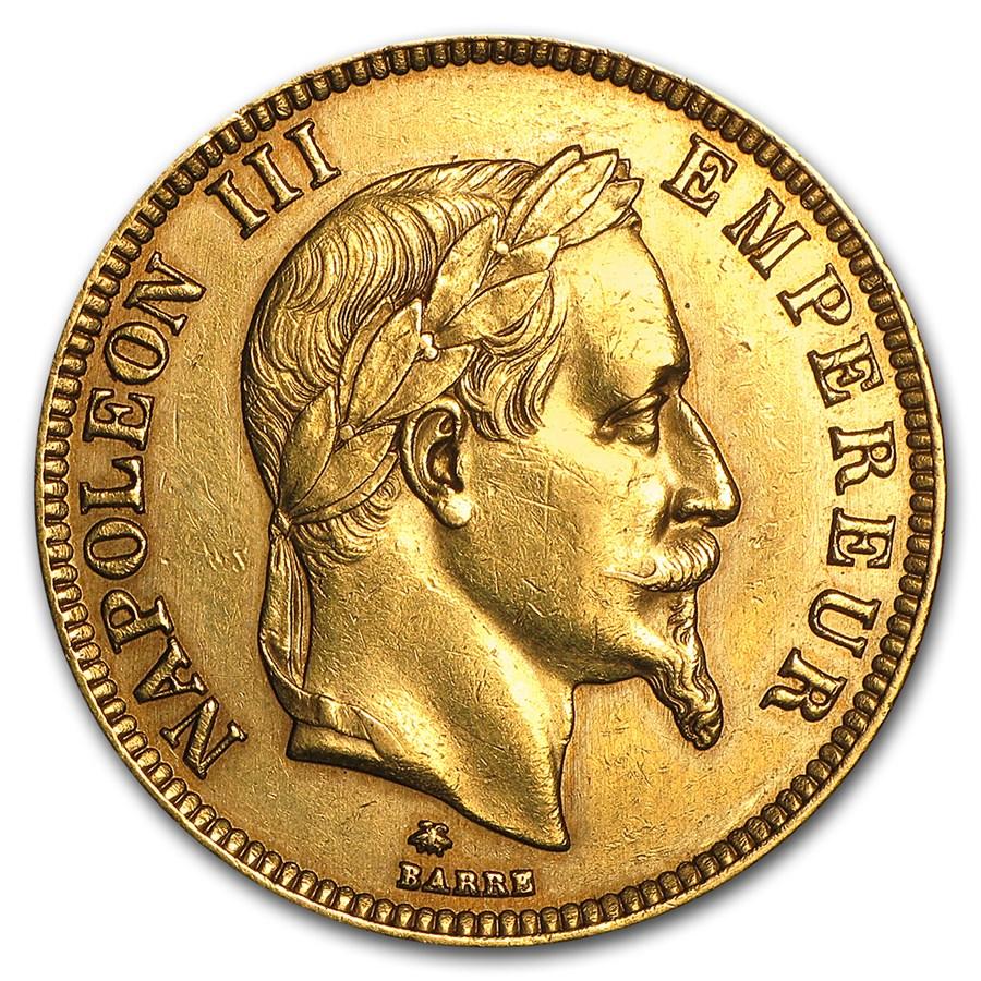 1862-1870 France Gold 100 Francs Napoleon III Laureate (AU)