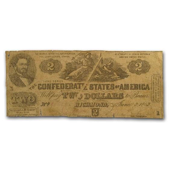1862 $2.00 (T-42) South Strikes Union J.P. Benjamin VG