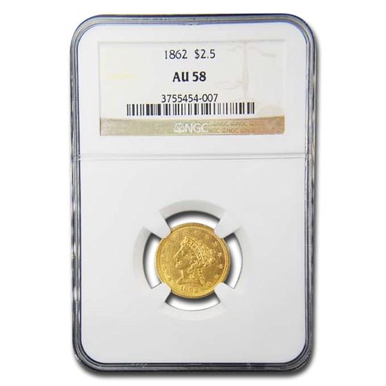 1862 $2.50 Liberty Gold Quarter Eagle AU-58 NGC
