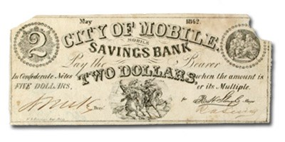 1862 $2 City Mobile Savings Bank,Mobile Alabama (AL-65) VF
