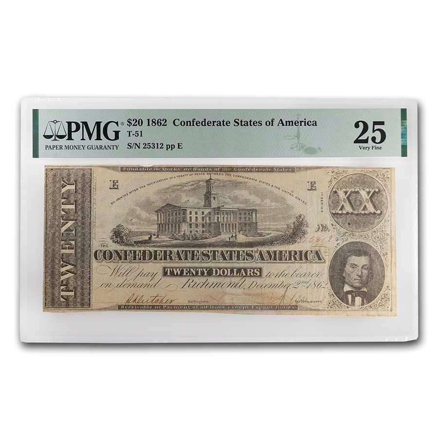 1862 $20 (T-51) Capitol @ Nashville, TN VF-25 PMG