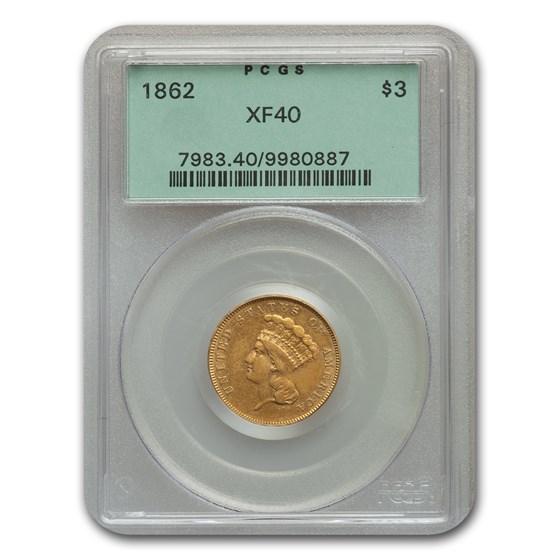 1862 $3 Gold Princess XF-40 PCGS