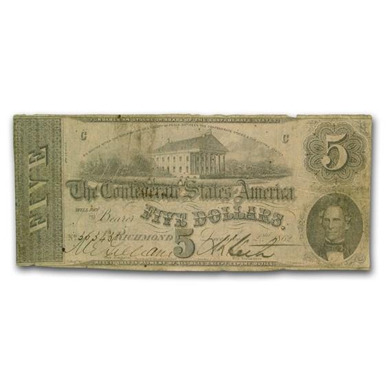 1862 $5.00 (T-53) Capitol @ Richmond, VA Fine (Canceled)