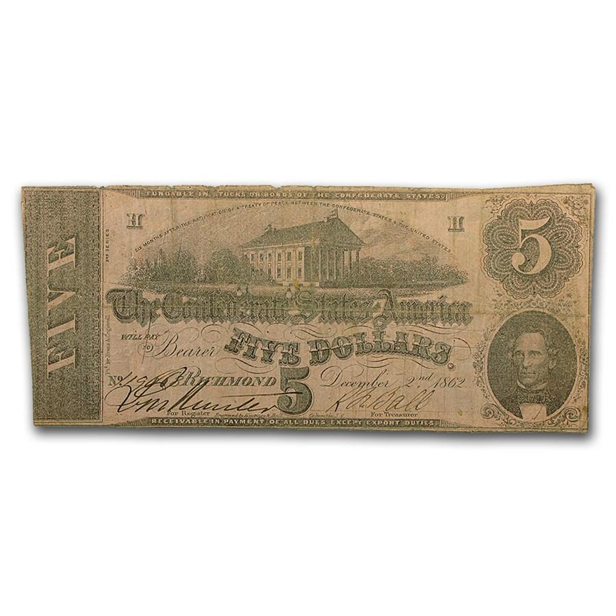 1862 $5.00 (T-53) Capitol @ Richmond, VA VF (Cancelled)