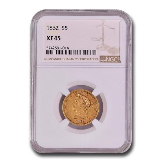 1862 $5 Liberty Gold Half Eagle XF-45 NGC