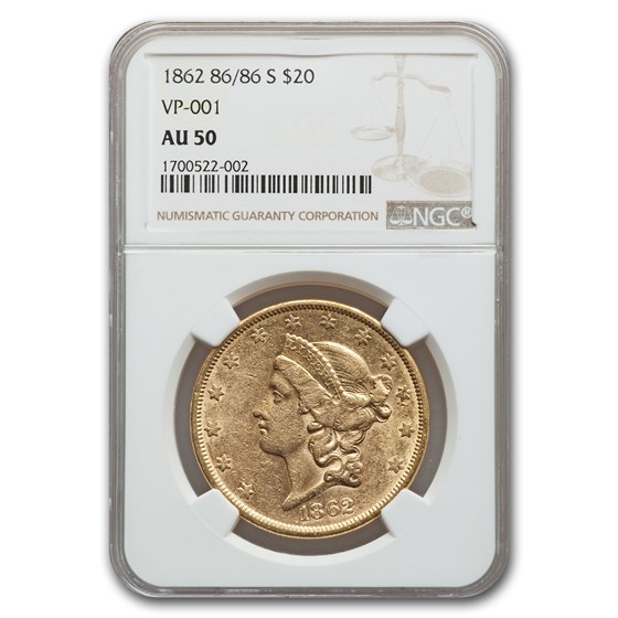 1862 86/86-S $20 Liberty Gold Double Eagle AU-50 NGC (VP-001)