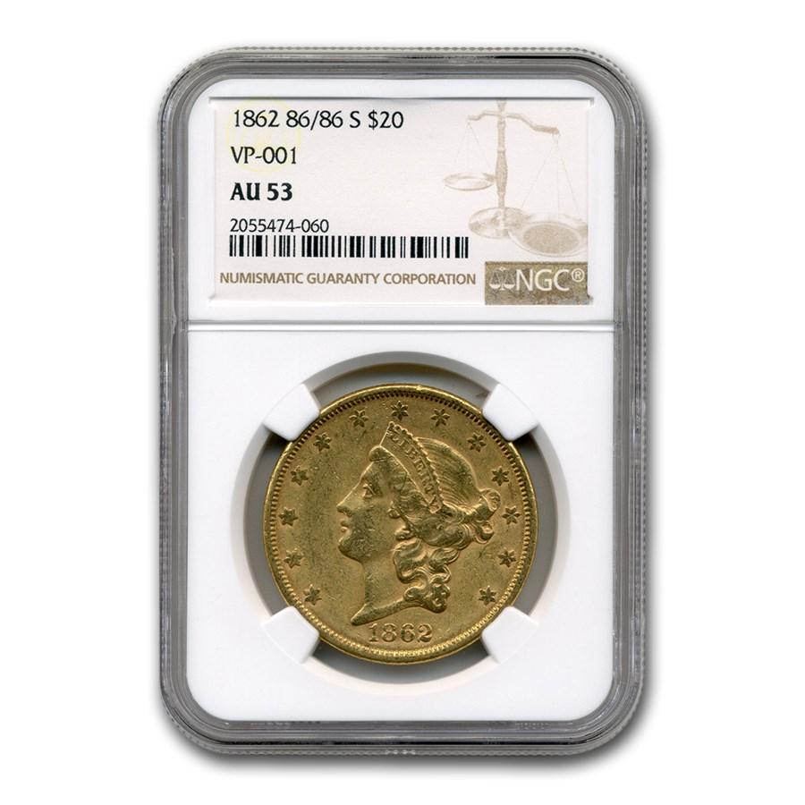 1862 86/86-S $20 Liberty Gold Double Eagle AU-53 NGC (VP-001)