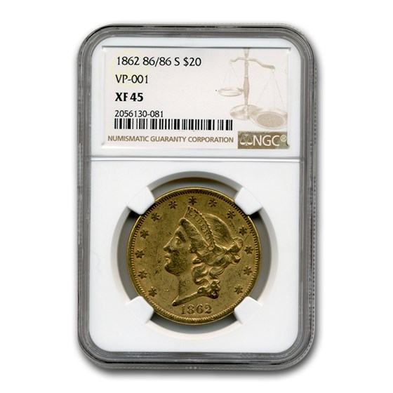 1862 86/86-S $20 Liberty Gold Double Eagle XF-45 NGC (VP-001)