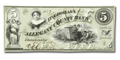 1862 Allegany County Bank of Cumberland,MD $5.00 MD-155 CU