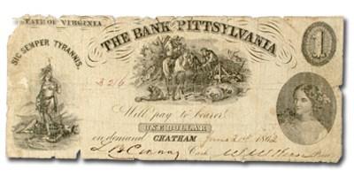 1862 Bank of Pittsylvania, Chatham, VA $1.00 VA-50 VG