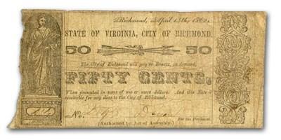 1862 City of Richmond, VA $.50, Unlisted, VG