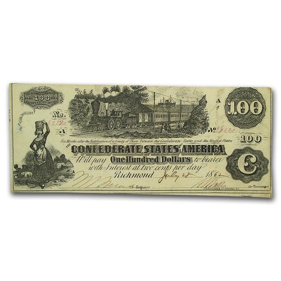 1862 CSA $100 (T-40) Train Straight Steam XF