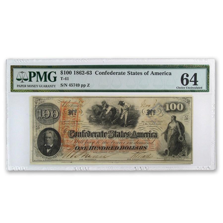 1862 CSA $100 (T-41) Slaves Hoeing Cotton CU-64 PMG