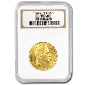1862 France Gold 50 Francs Napoleon III AU