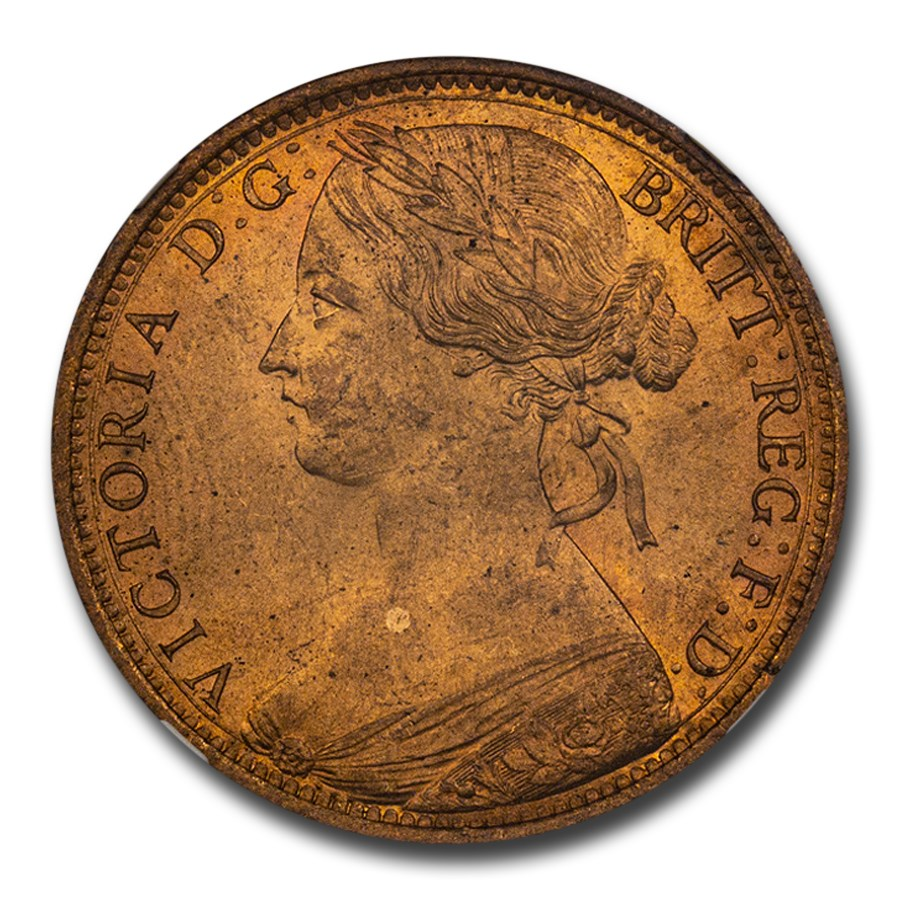 1862 Great Britain Bronze Penny Victoria MS-65 NGC (Red)