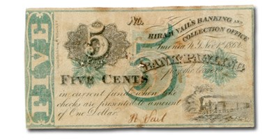 1862 Hiram Vail's Banking & Collection 5 Cents NY-140, Fine