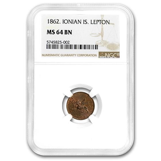 1862 Ionian Islands Lepton MS-64 NGC (Brown)