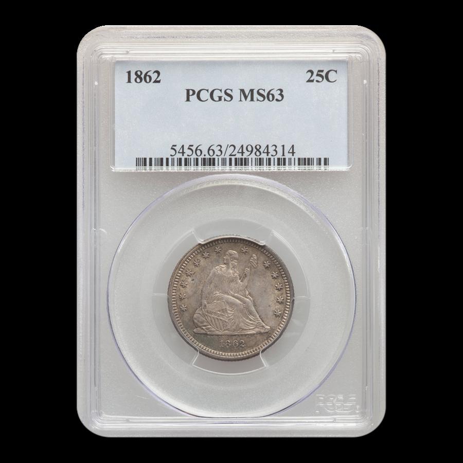 1862 Liberty Seated Quarter MS-63 PCGS