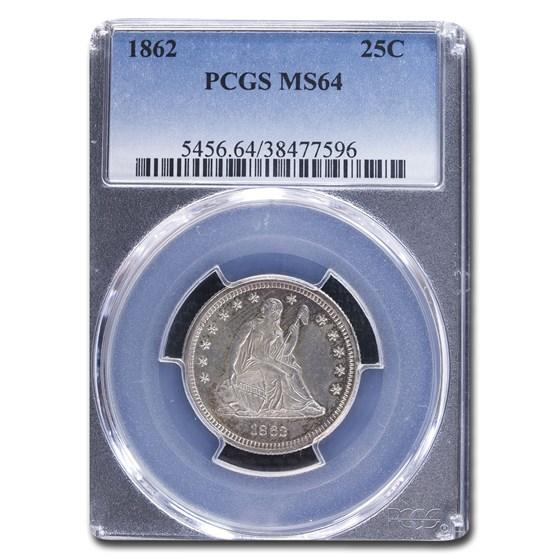 1862 Liberty Seated Quarter MS-64 PCGS
