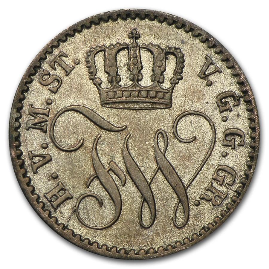 1862 Mecklenburg-Strelitz Silver 1/48 Thaler XF+