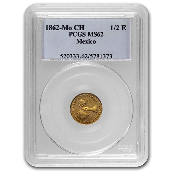 1862 Mo CH Mexico Gold 1/2 Escudo MS-62 PCGS