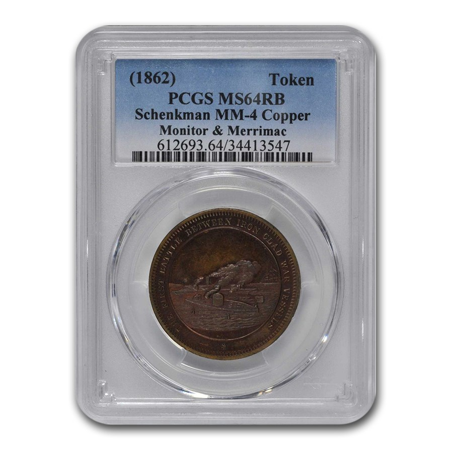 1862 Monitor & Merrimac Token MS-64 PCGS (Red/Brown)