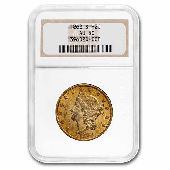 1862-S $20 Liberty Gold Double Eagle AU-50 NGC