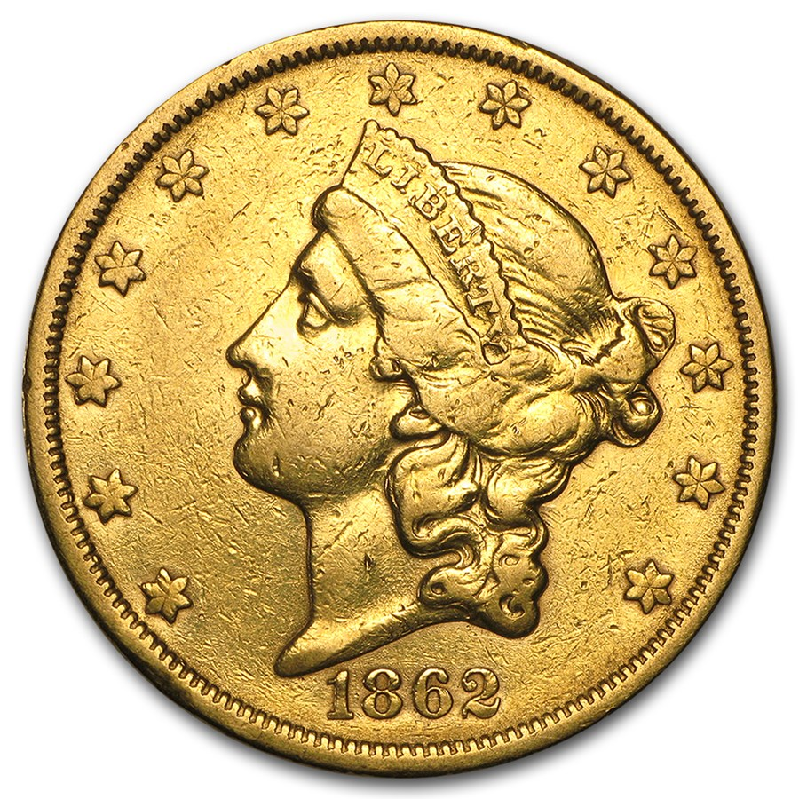 1862-S $20 Liberty Gold Double Eagle XF Details (Cleaned)