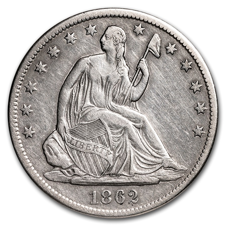 1862-S Liberty Seated Half Dollar XF Details (Cleaned)