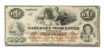 1862 Somerset & Worcester Svgs Bank of Salisbury, MD $1.00 VF