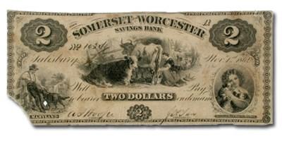 1862 Somerset & Worcester Svgs Bank of Salisbury, MD $2.00 Fine