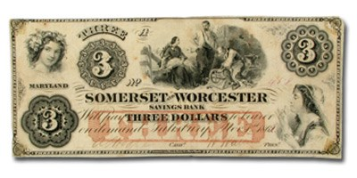 1862 Somerset & Worcester Svgs Bank of Salisbury, MD $3.00 VF
