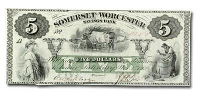 1862 Somerset & Worcester Svgs Bank of Salisbury, MD -$5.00 CU