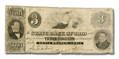 1862 State Bank of Ohio, Xenia,OH-5 $3.00 VG