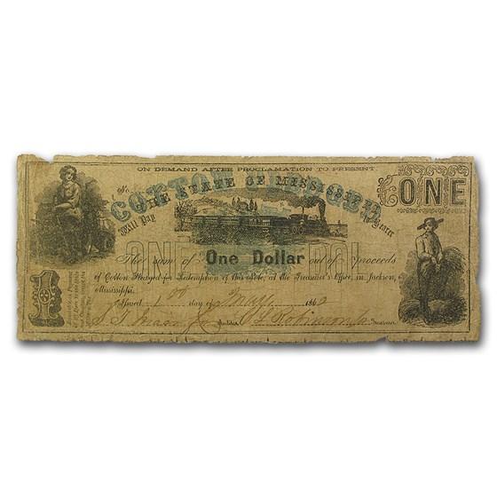 1862 State of Mississippi $1.00 Cotton Pledge VG