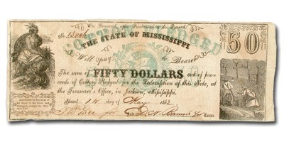 1862 State of Mississippi $50.00 CR-15 RARITY-6 XF