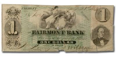 1862 The Fairmont Bank of Fairmont,VA $1.00 VA-70 VG