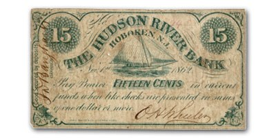 1862 The Hudson River Bank @ Hoboken, NJ $0.15 Unlisted VG