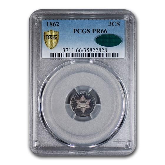 1862 Three Cent Silver PR-66 PCGS CAC