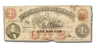 1862 Virginia Treasury Note $1.00 CR #-18 Fine