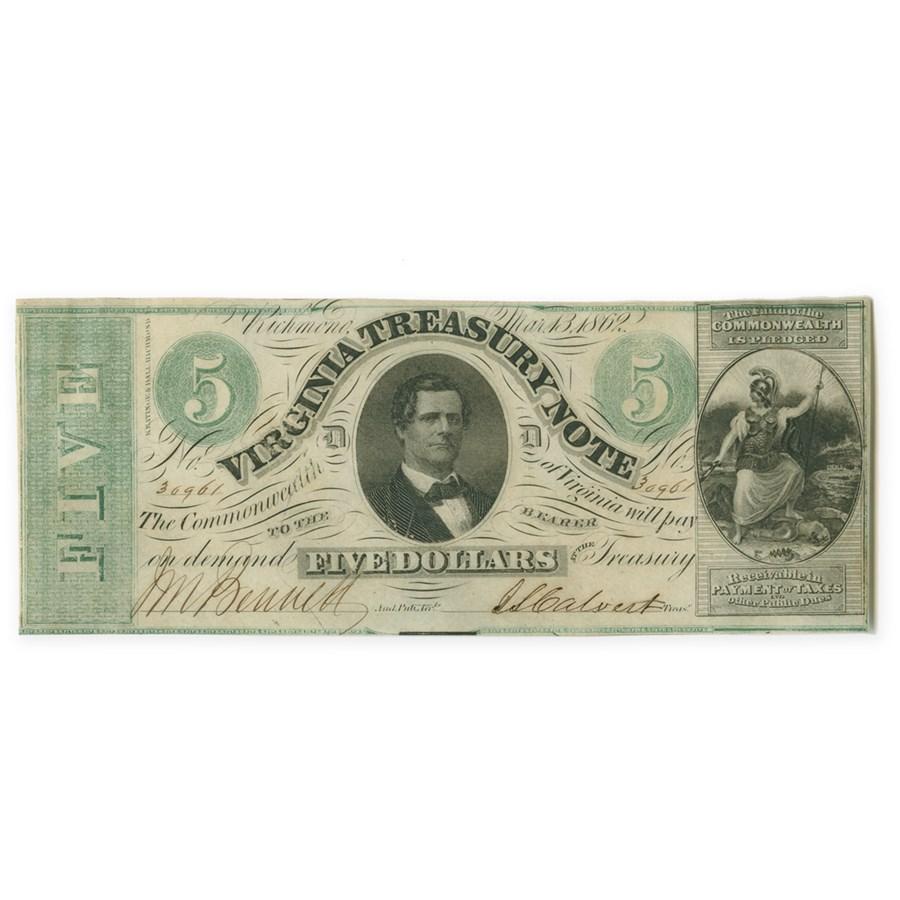 1862 Virginia Treasury Note $5.00 CR #-13 Ch AU